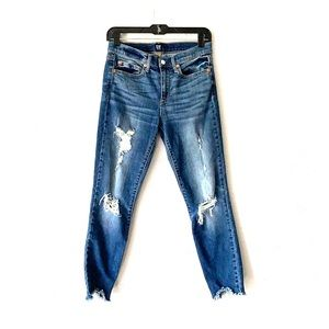 Gap True Skinny Mid-Rise Cropped Jeans/Destroyed